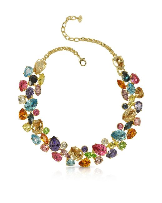 Forzieri - Metallic Multicolor Crystal And Metal Necklace - Lyst