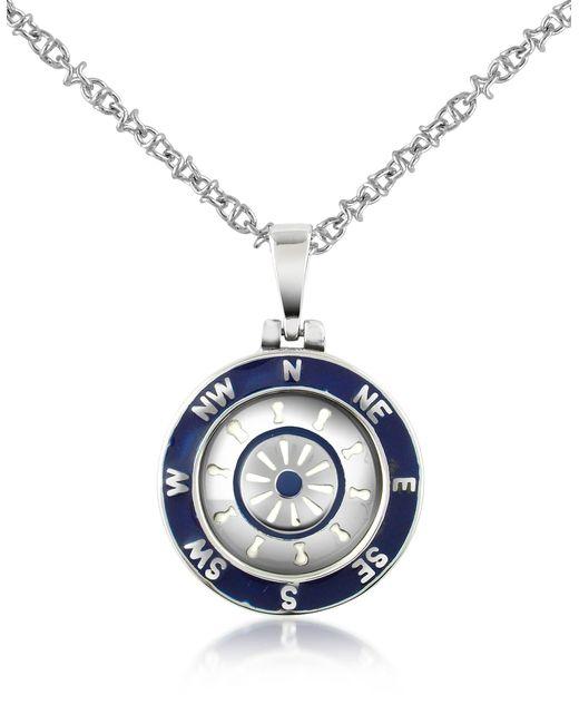 Forzieri - Metallic Collier pendentif gouvernail et points cardinaux en acier inox et émail bleu marine for Men - Lyst
