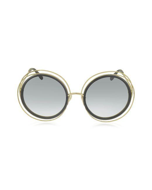 Chloé - Gray Carlina Ce 120s Round Oversized Acetate & Metal Women's Sunglasses - Lyst