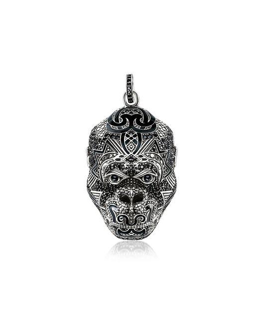 Blackened Sterling Silver Monkey God Pendant w/Black Zirconia and Onyx Thomas Sabo pour homme en coloris Metallic