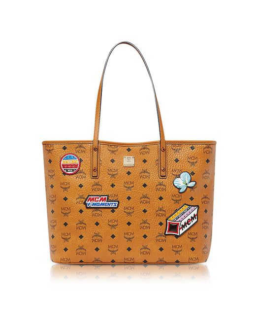 MCM - Brown Anya Victory Patch Visetos Cognac Top Zip Medium Tote Bag - Lyst