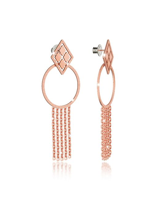 Rebecca | Pink Melrose Rose Gold Over Bronze Drop Hoop Earrings W/chain Fringes | Lyst