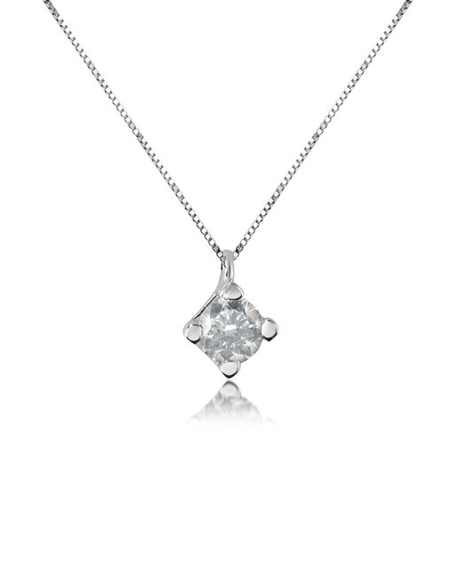 Forzieri - Metallic 0.15 Ct Diamond Solitaire Pendant 18k Gold Necklace - Lyst