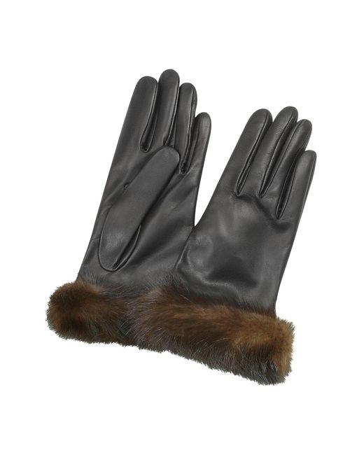 Forzieri - Women's Black Italian Nappa Leather Gloves - Lyst