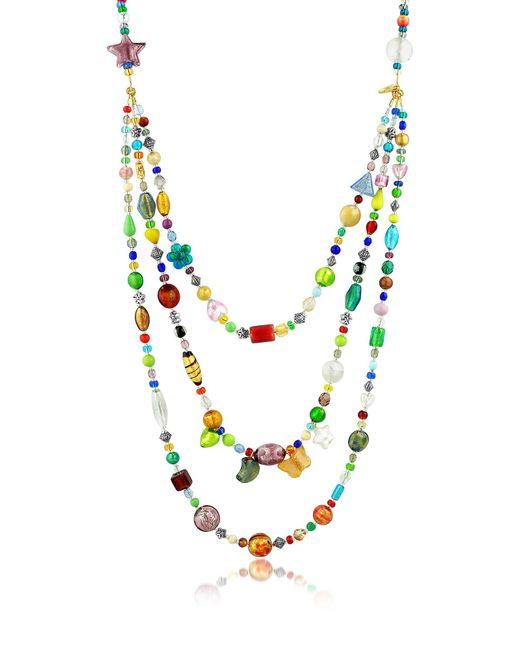 Antica Murrina - Brio - Triple-strand Multicolor Murano Glass Bead Necklace - Lyst