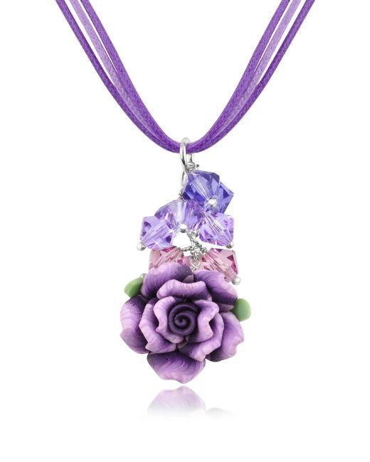 Dolci Gioie   Purple Rose Pendant W/lace   Lyst