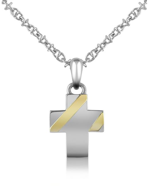Forzieri - Metallic Stainless Steel Cross Pendant Necklace for Men - Lyst