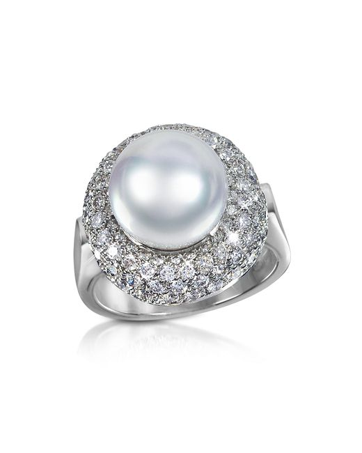 Forzieri - White 0.70 Ct Diamond And Pearl 18k Gold Ring - Lyst