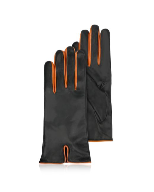 Forzieri - Black & Orange Cashmere Lined Leather Ladies' Gloves - Lyst