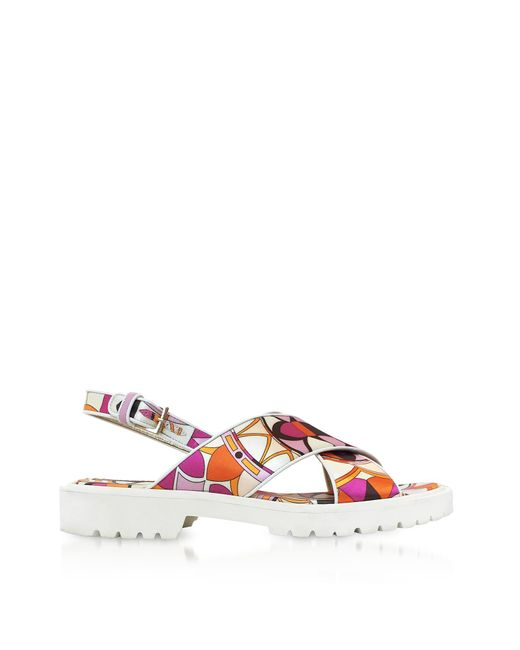 Emilio Pucci - Orange Arenal Print Twill Silk Sandals - Lyst