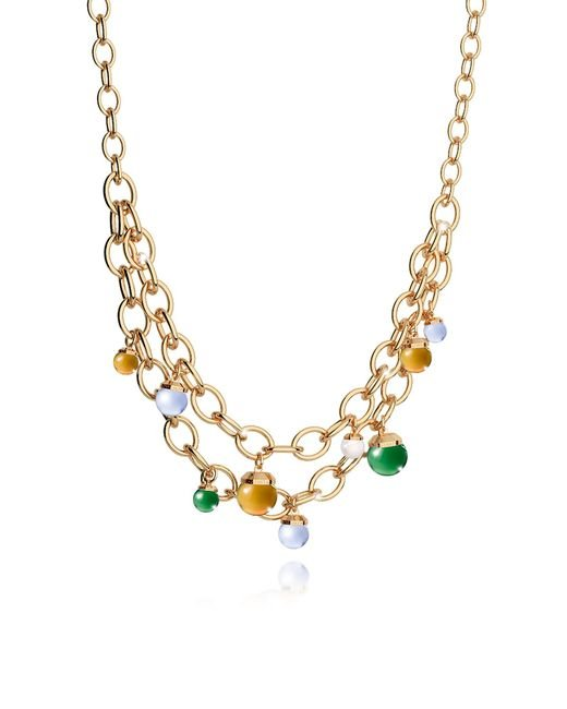 Rebecca - Metallic Hollywood Stone Yellow Gold Over Bronze Chains Necklace W/hidrothermal Stones - Lyst