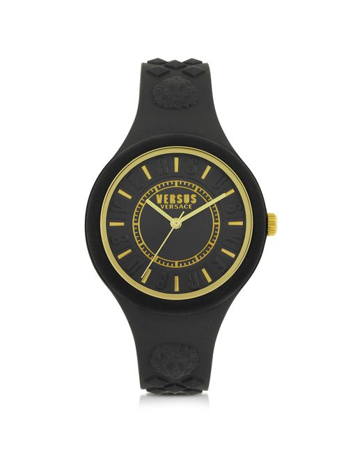 Versus  - Black Fire Island Silicon And Gold Tone Stainless Steel Women's Watch - Lyst