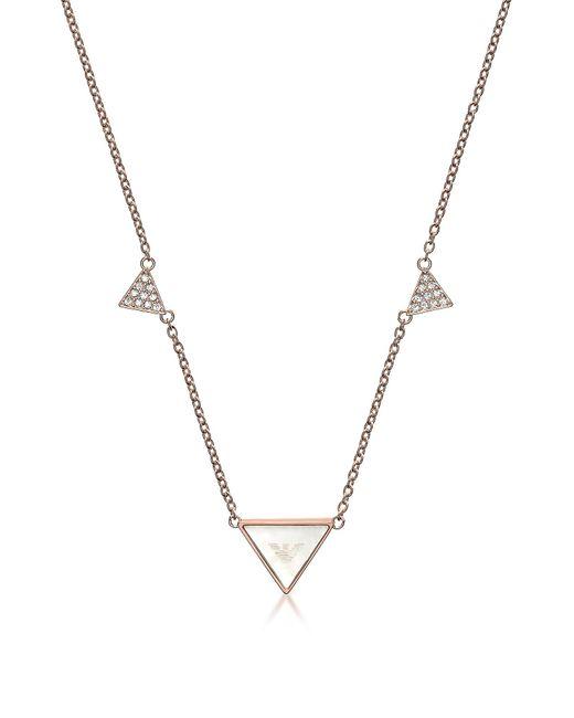 Emporio Armani - Pink Signature Rose Goldtone Triangle Necklace - Lyst