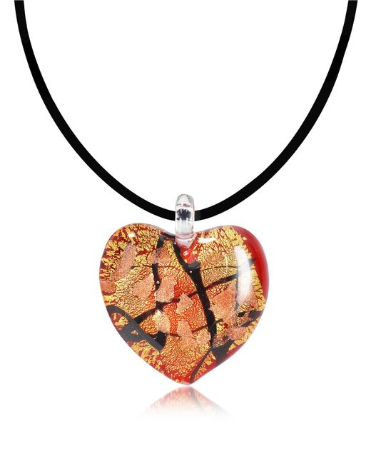 Antica Murrina | Passione - Red Gold And Black Murano Glass Heart Pendant | Lyst