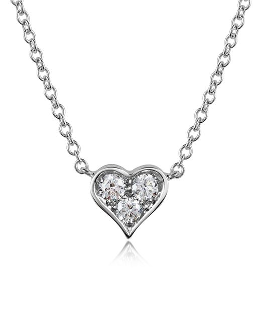 Forzieri - White 0.31 Ct Diamond Heart Pendant Necklace - Lyst
