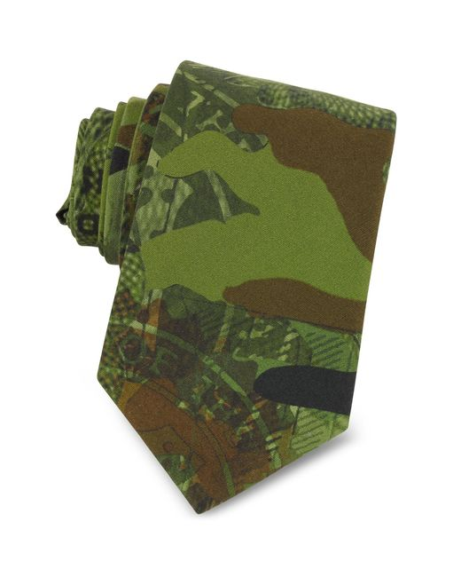 Givenchy - Green Corbata Estrecha de Algodón Camuflaje for Men - Lyst
