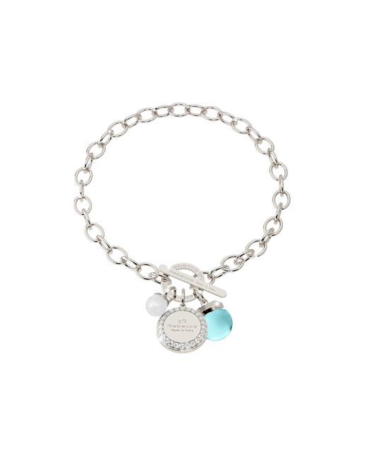 Rebecca | Metallic Hollywood Stone Rhodium Over Bronze Chain Bracelet W/hydrothermal Turquoise Stone And Glass Pearl | Lyst