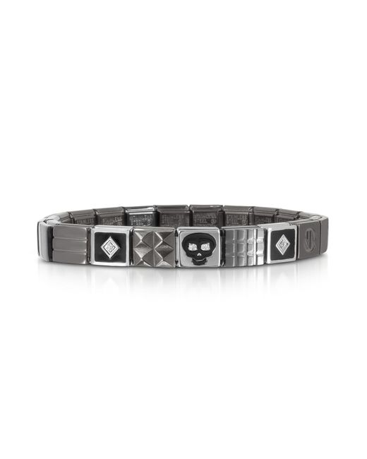 Nomination - Metallic Steel Ikons Black Enamel And Brushed Stainless Steel Bracelet W/cubic Zirconia for Men - Lyst