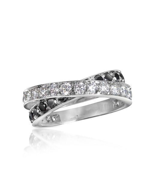 Forzieri - Black & White Diamond Crossover 18k Gold Ring - Lyst