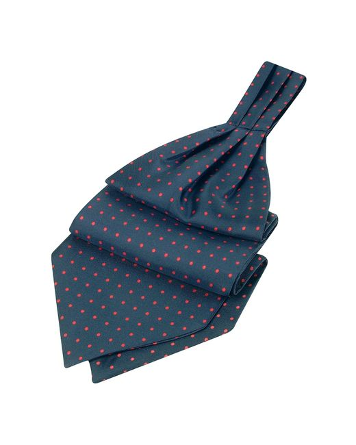 FORZIERI | Red Polkadot Pattern Dark Blue Twill Silk Ascot for Men | Lyst