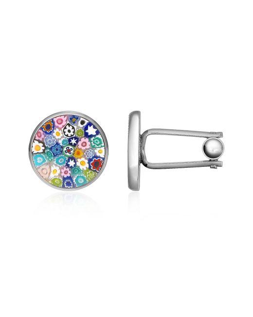 FORZIERI | Metallic Millefiori Murano Glass Silver Plated Cuff Links for Men | Lyst