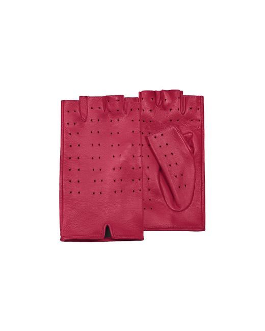 FORZIERI | Women's Red Perforated Fingerless Leather Gloves | Lyst