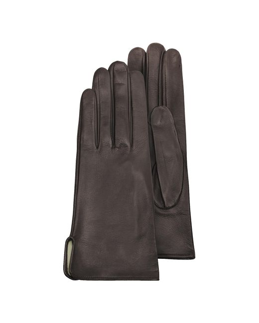 FORZIERI | Women's Brown Calf Leather Gloves W/ Silk Lining | Lyst