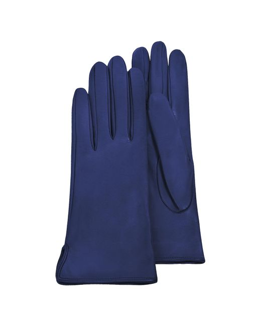 FORZIERI | Women's Bright Blue Calf Leather Gloves W/ Silk Lining | Lyst