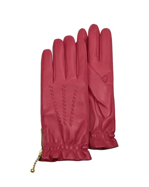 FORZIERI | Women's Embroidered Red Calf Leather Gloves | Lyst