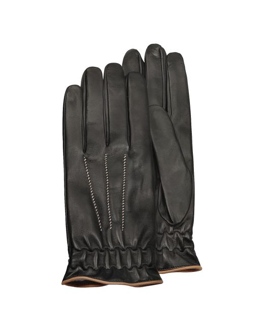 FORZIERI | Men's Black Cashmere Lined Calf Leather Gloves for Men | Lyst
