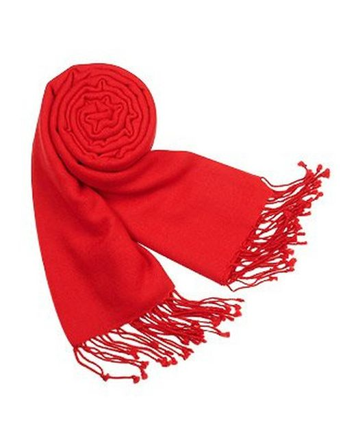FORZIERI | Red Solid Pure Pashmina Fringed Shawl | Lyst