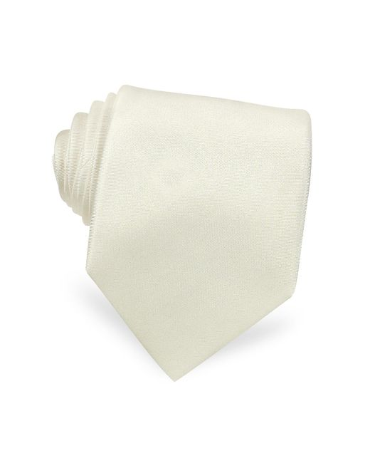 FORZIERI | Solid White Extra-long Pure Silk Tie for Men | Lyst