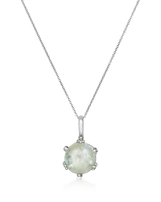 Mia & Beverly | White Spectrolite And Diamond 18k Gold Charm Necklace | Lyst