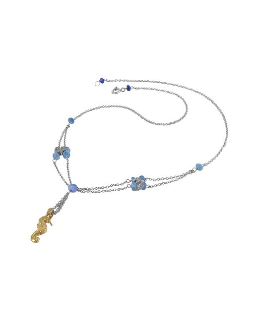 FORZIERI | Metallic Seahorse Pendant Sapphire & 18k White Gold Necklace | Lyst