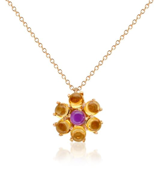 Forzieri | Metallic Amethyst And Citrine Flower 18k Gold Pendant Necklace | Lyst