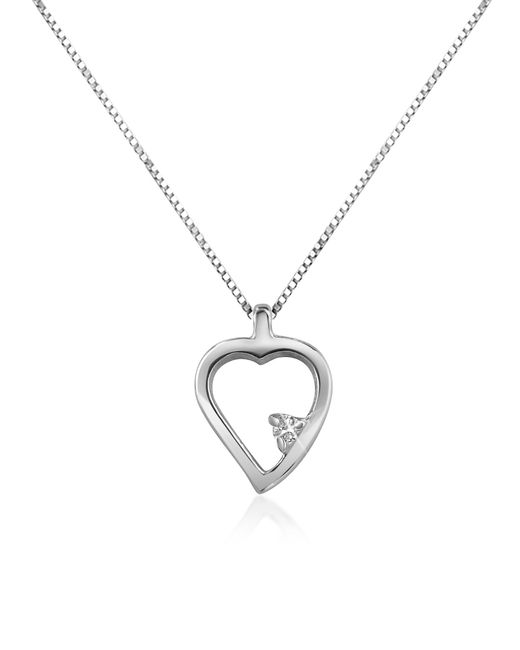 Forzieri | Metallic 0.015 Ct Diamond Heart 18k Gold Necklace | Lyst