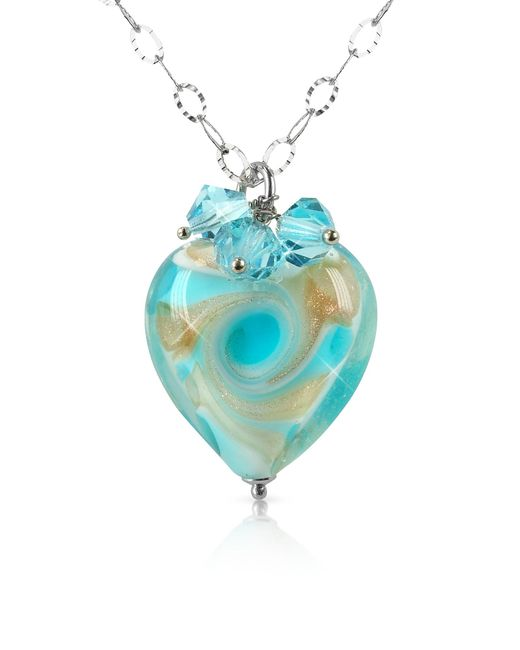 House of Murano | Blue Vortice - Turquoise Murano Glass Swirling Heart Sterling Silver Necklace | Lyst