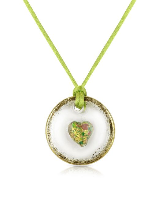 House of Murano | Round Murano Glass Pendant W/green Lace | Lyst