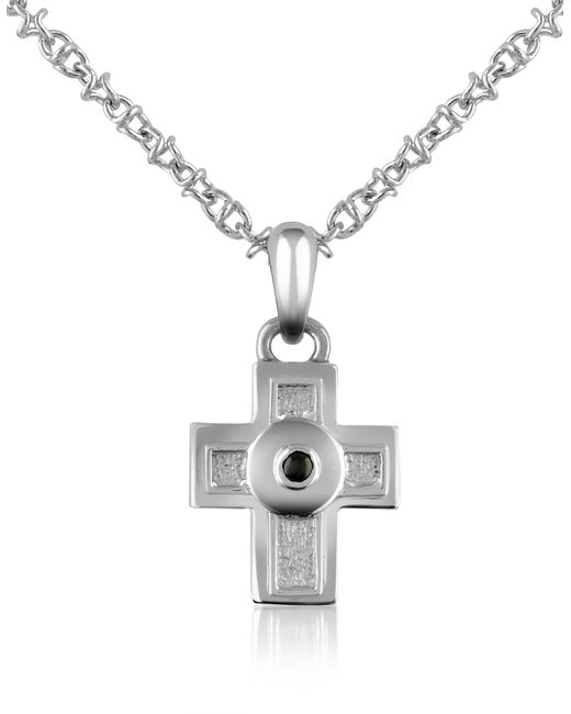 Forzieri | Metallic Central Black Sapphire Stainless Steel Cross Pendant Necklace for Men | Lyst