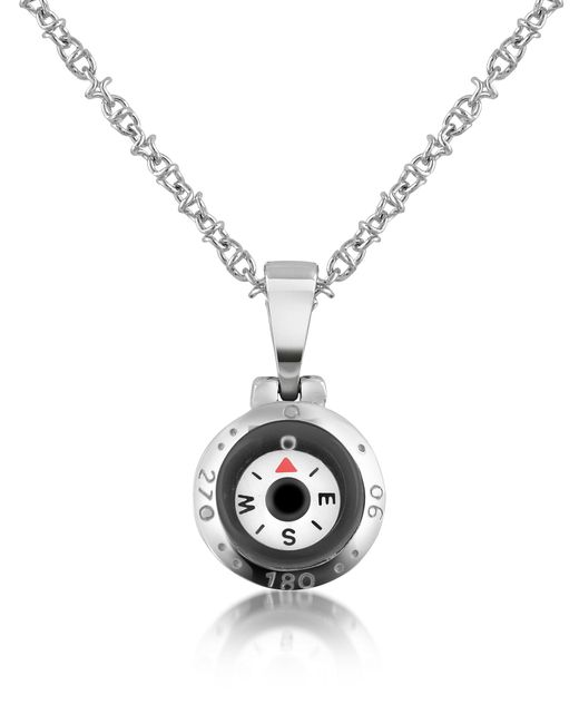 FORZIERI | Gray Stainless Steel Compass Pendant Necklace for Men | Lyst