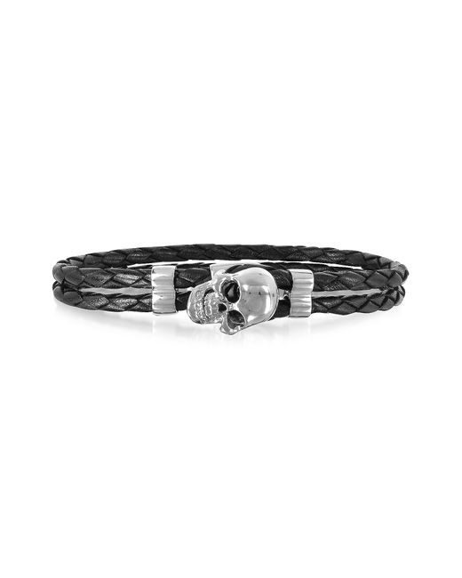 FORZIERI | Metallic Skull Silver Tone Brass And Leather Men's Bracelet for Men | Lyst