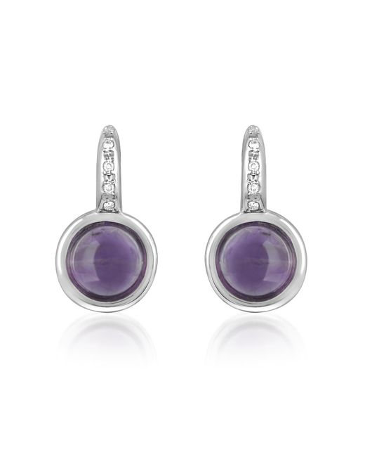Mia & Beverly | Amethyst And Diamond 18k White Gold Earrings | Lyst