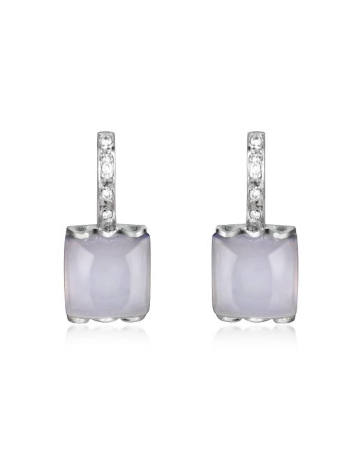 Mia & Beverly | Chalcedony And Diamond 18k White Gold Earrings | Lyst