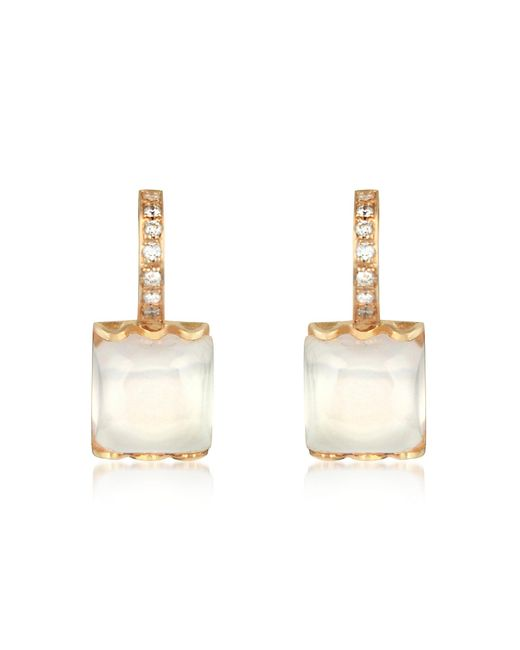 Mia & Beverly | Pink Rose Quartz And Diamond 18k Gold Earrings | Lyst