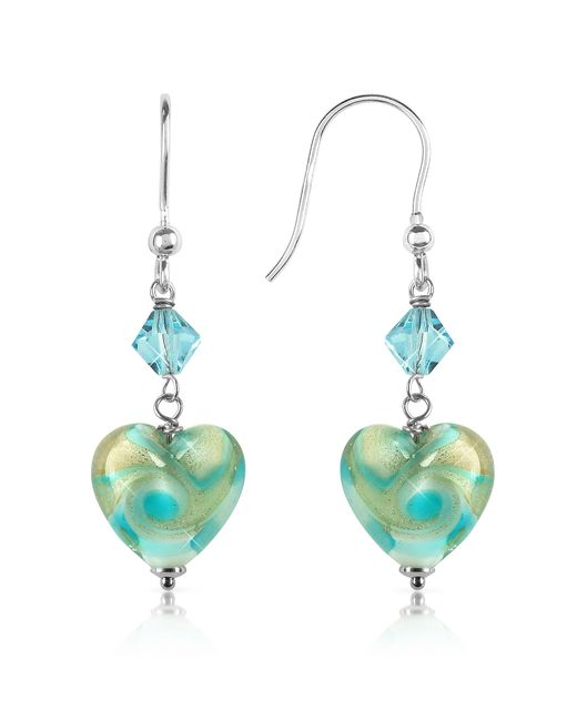 House of Murano | Blue Vortice - Turquoise Swirling Murano Glass Heart Earrings | Lyst