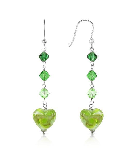House of Murano | Green Vortice - Lime Swirling Murano Glass Heart Earrings | Lyst