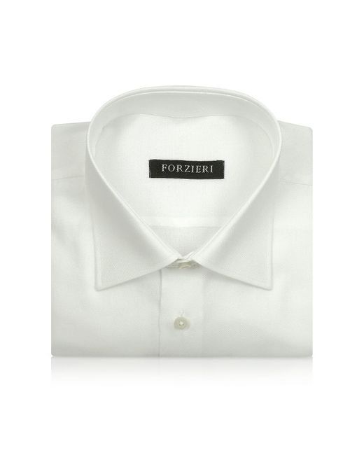 FORZIERI | Marcus Line - Solid White Oxford Cotton Dress Shirt for Men | Lyst