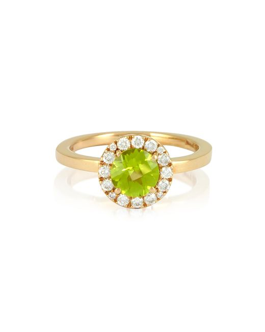 FORZIERI | Metallic 0.22 Ct Diamond Pave 18k Gold Ring W/green Peridot | Lyst