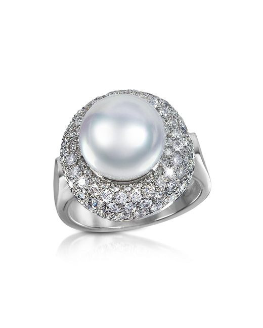 Forzieri | White 0.70 Ct Diamond And Pearl 18k Gold Ring | Lyst