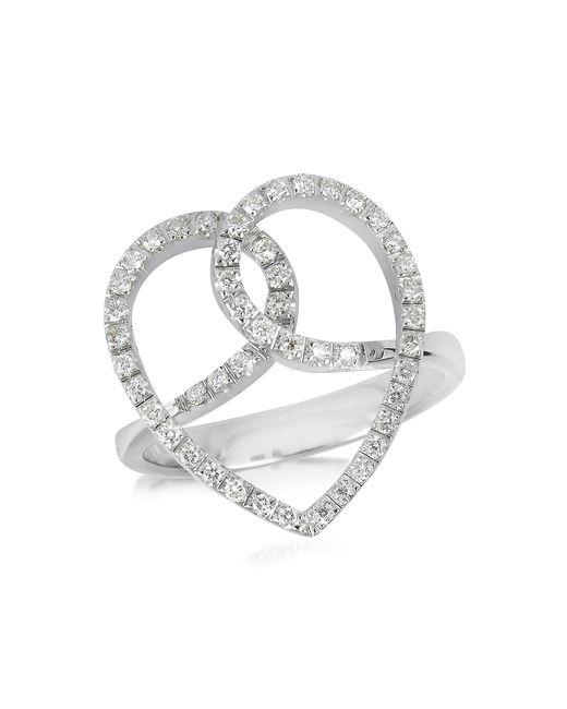 FORZIERI | Diamond Crossing Heart 18k White Gold Ring | Lyst